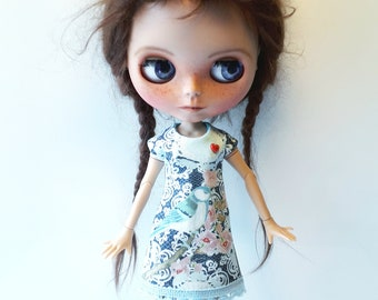 """Handmade  Romantic   Bleu Shabby Chique Tricot Dress """"Bird"""" for Blythe 1/6"""
