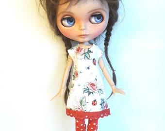"Handmade  Romantic  Shabby Chique Jersey Dress ""ladybird"" for Blythe 1/6"