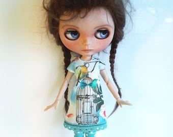 "Handmade  Summer Dress ""Birds"" for Blythe"