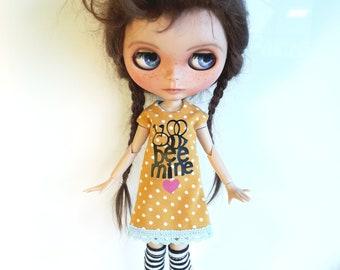 "Handmade  Yellow Summer Dress ""Bee Mine"" for Blythe"
