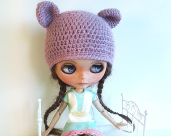 Crocheted Pink Bear Hat for Blythe Doll 1/6