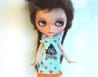 "Handmade Light Bleu Summer Dress ""Oh Poop!"" for Blythe"