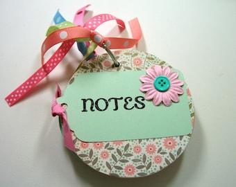 Pink and Aqua Chipboard Notebook, Mini Notebook, Mini Journal, Round Notebook, Blank Pages, Notebook, Journal, Notes, Chipboard Notebook