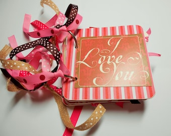 Valentine Mini Album, Love Mini Album, Valentines Day, Valentines Day Brag Book, Photo Album, Memory Book, Premade Album, Love Album, 4x4