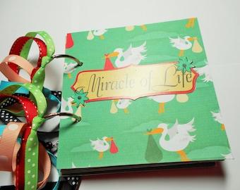 Pregnant Scrapbook, Pregnant Mini Album, Premade Album, Pregnant Brag Book, Photo Album, Chipboard Album, Miracle of Life, 5x5, memory Book
