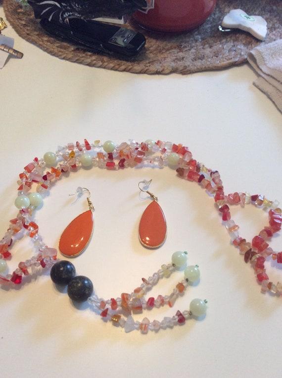 Orange agate necklace Gemstone necklace Pendant Necklace,Gift for her Chocker necklace Vibrant summer necklace Boho statement necklace