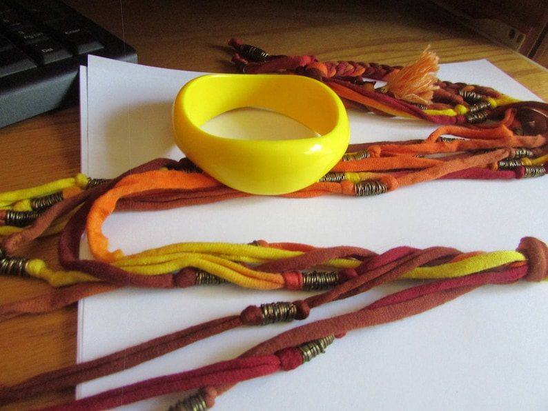 fall colored cord necklace