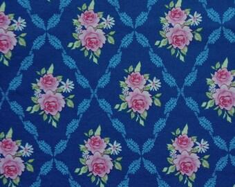Roses in Leafy Diamonds on Blue Fabric, European Cut
