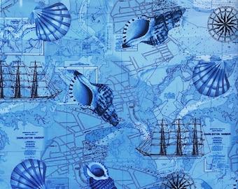 Nautical Ocean Fabric, Timeless Treasures Sea C1735, 1 yard plus bonus