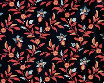 Black with  Red and Golden Brown Flowers Fabric, 1/3 yard