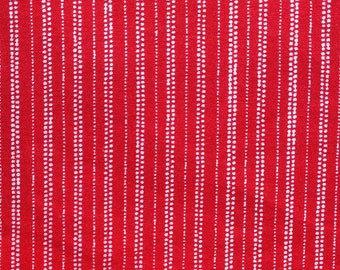 Bright Red with White Ticking Stripes Fabric Fat Quarter