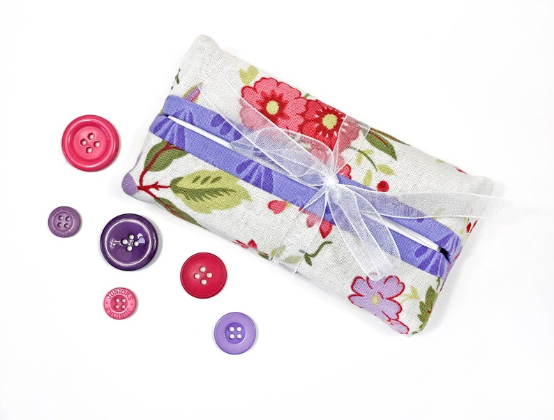 Pink and Purple Floral Print Fabric Tissue Cover