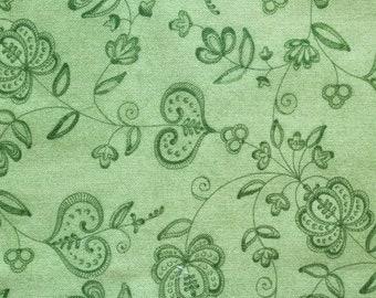 Green Folk Art Flowers and Hearts Fabric Fat Quarter