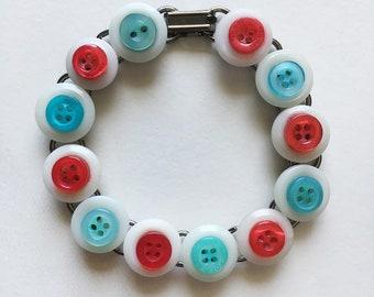 Red and Aqua Button Bracelet