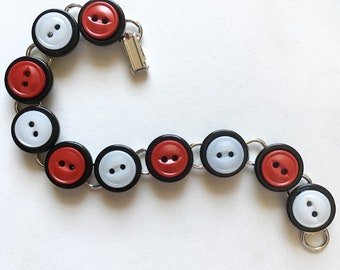Black and White and Red All Over Button Bracelet