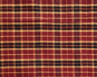 Red, Black, Gold Homespun Woven Fabric Fat Quarter