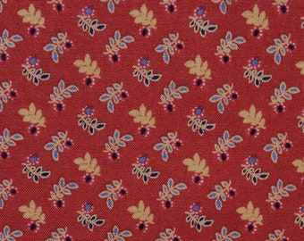 Rust Red with Sprigs Fabric Fat Quarter