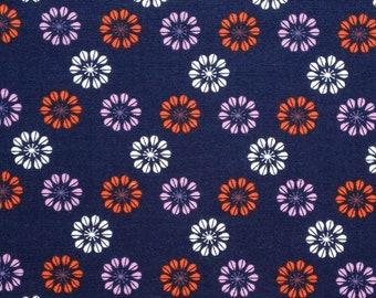 Dark Blue with Flowers Fabric Fat Quarter