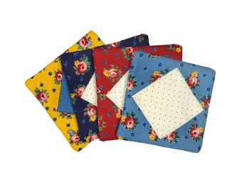 Blue, Red, and Yellow Floral Fabric Coasters