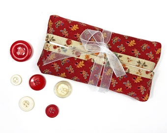 Rust Red Sprigs with Cream Fabric Tissue Cover