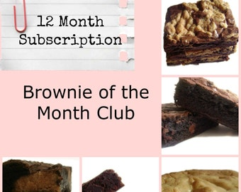 Brownie of the Month Club - 12 Month Subscription, Gift Subscription, Flavored Brownies, Homemade Brownies, Dark Chocolate Brownies