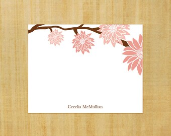 Custom Stationary set of 8 personalized Note Cards - Pink Flowers