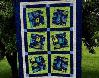 Price Reduced - Happy Dragon Baby Quilt in Lime Green and Blues with Minky back - Sale