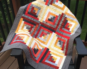Modern Log Cabin Accent Quilt in Red, gray, yellow, cream
