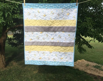 Baby Quilt in Blue, Yellow and Grey with Flannel Teddy Bear and Bunny fabric and other soft and textures fabrics