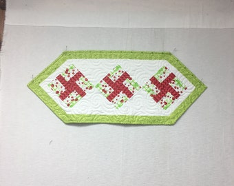Happy  Cherry Table Runner in green, red and white