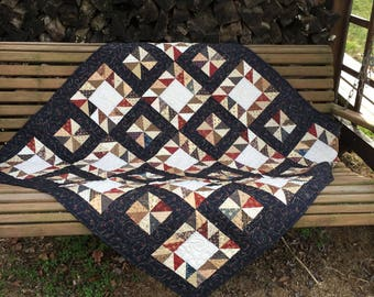 Price Reduced Rustic Pinwheels Lap Quilt or Table Topper - Sale