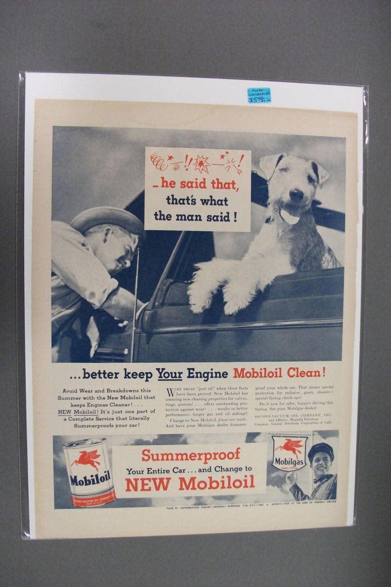Collectibles Vintage 1940 Magazine Ad Mobiloil Special Use For The Best Engine Protection Advertising