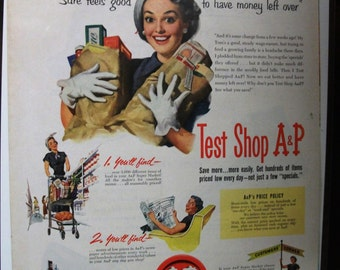 """Food 127   """"Test Shop A & P""""  Ad  -  May 1951"""