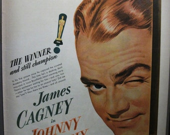 """Movies ... 110  """"James Cagney in Johnny Come Lately"""" Ad  -  September 1943"""