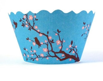 Cupcake Wrappers - Meisha - Bird with Cherry Blossoms (Blue)  Includes 12 ADJUSTABLE Wrappers