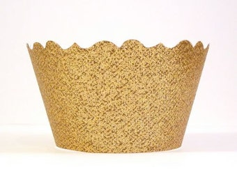 Glitter Gold Cupcake Wrappers - Includes 12 Cupcake Wrappers