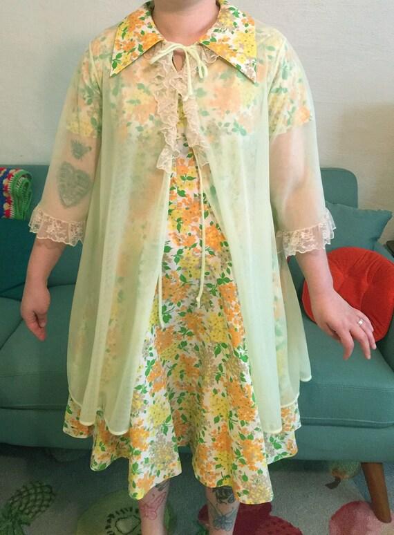 Vintage 60s Sheer Pale Yellow Green Robe Kimono Co