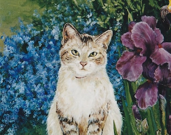Note Cards/Pack of 10; Original Paintings by Sue Banks Assorted With Cat, Pansies and Maple Leaf