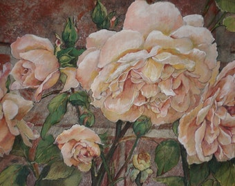 Note Cards/pack of 10; Original Paintings by Sue Banks of Roses and Hydrangeas