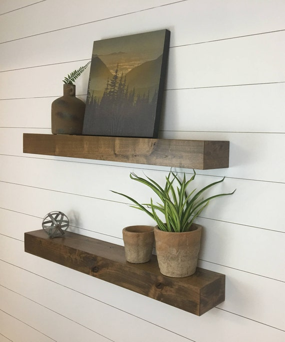 Floating Shelves Set Of Two Contemporary Rustic Floating Etsy