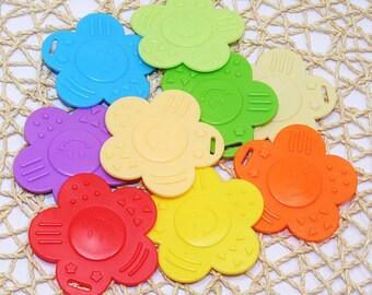 9pc Smiley flower teether Sampler Pack - for baby toys / dolls / pets (ROYCGGBP)
