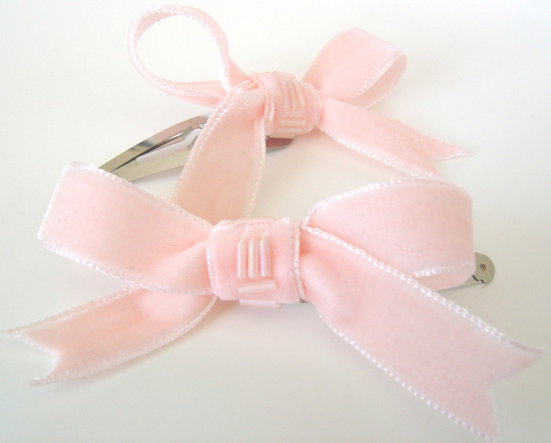 e9980717b4ef4 Blush Velvet Bow Hair Clips, Two Beaded Pink Ribbon Hair Clips, Teen Hair  Bow Clips, Childrens Snap Hair Clips, Womens Retro Style Hair Clip