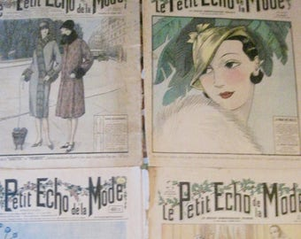 French Magazine, Fashion Magazine, Illustrated weekly, Le Petit Echo De La Mode, French Ephemera, Vintage Weekly Magazine, Fashion Cover Art