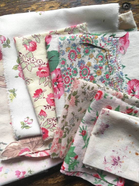 Vintage Fabric Bundle, French Florals, Quilting Kit