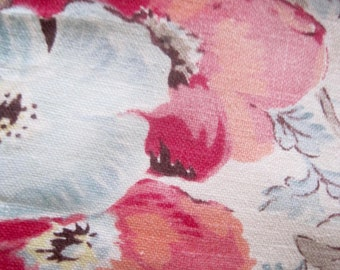 Vintage French Fabric, 1940s French Fabric, French Florals, Vintage Fabric, 40s Floral Fabric, French Vintage Textile, Gently Faded Fabric