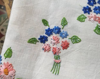 Vintage Embroidered Cloth, French Embroidered Rectangular Cloth, Linen Tablecloth, French Floral Unfinished Tablecloth, French Table Linens