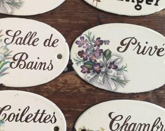 Enamel Door Plates, French Door Plates, Floral Door Plaques, French Enamelware, Floral Decorative Door, Shabby Chic decor, Door Fittings