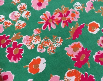 Vintage French Fabric,  Floral Print Fabric, French Vintage Textile, Florals on Green, Unused From Bolt, Mid Century Fabric, French Florals