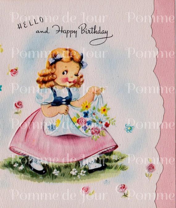 Vintage Birthday Card Old Fashioned Greeting Blank Card Etsy