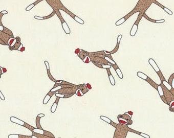 5 Funky Sock Monkey FabricTexture Brown Sock 15075 17 Moda Quilting fabric